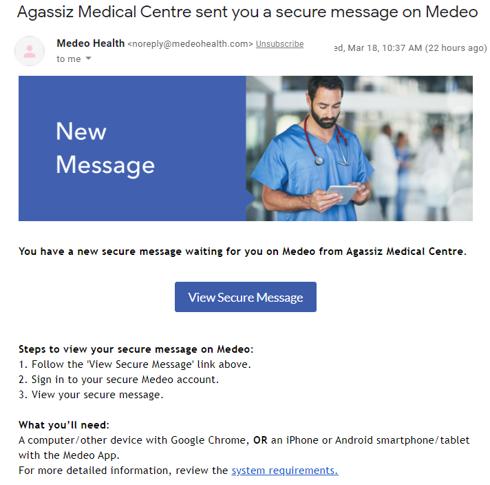 Medeo Invite in email